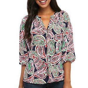 NWT Crown & Ivy Paisley Peasant V Neck Blouse Top